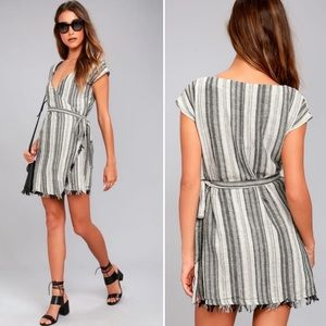 Lulu's Island Retreat Grey Striped Wrap Dress